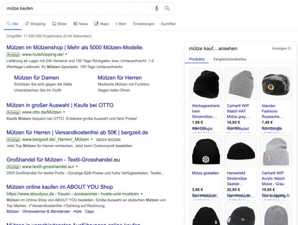 """Google Shopping Ads für den Begriff """"Mütze Kaufen"""""""